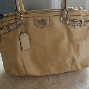 Muted yellow leather Large coach purse
